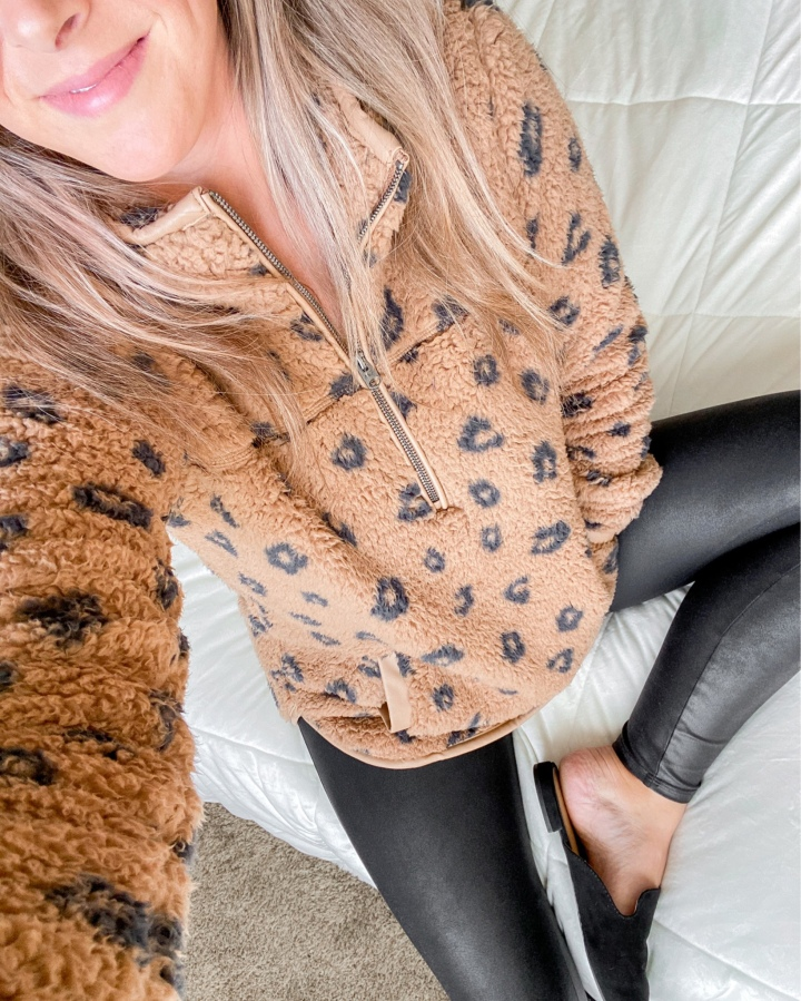 Leopard Print Pullover + Faux Leather Leggings | FallStyle